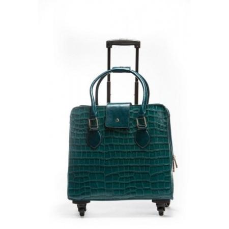 Teal Croc Roller Bag