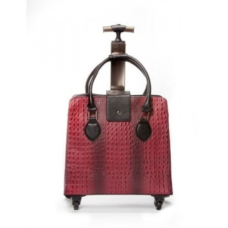 Red & Black Croc Rolling Bag