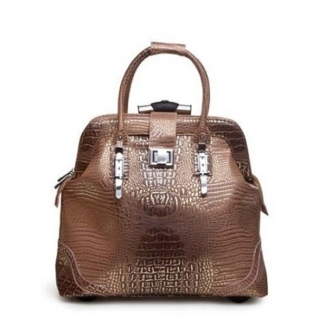Brown & Gold Croc Rolling Bag